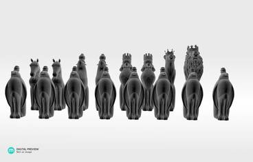 Animal chess figures - Sandstone white