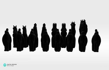 Animal chess figures - Plastic matte black