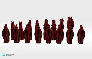 Animal chess figures - Plastic matte red