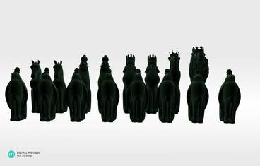Animal chess figures - Plastic matte green