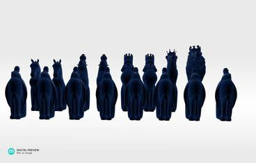 Animal chess figures - Plastic matte blue