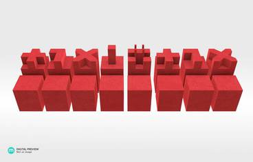 Architectural chess - Plastic matte red