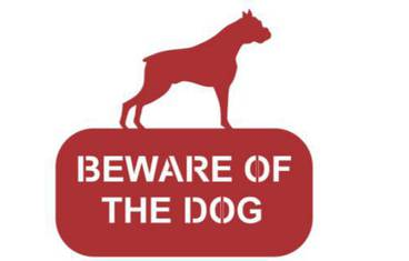 """""""Be aware of the dog!"""" sign - Acrylic glass 3mm red"""