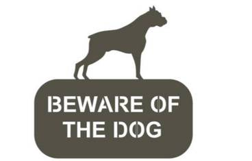 """""""Be aware of the dog!"""" sign - Acrylic glass 3mm black"""