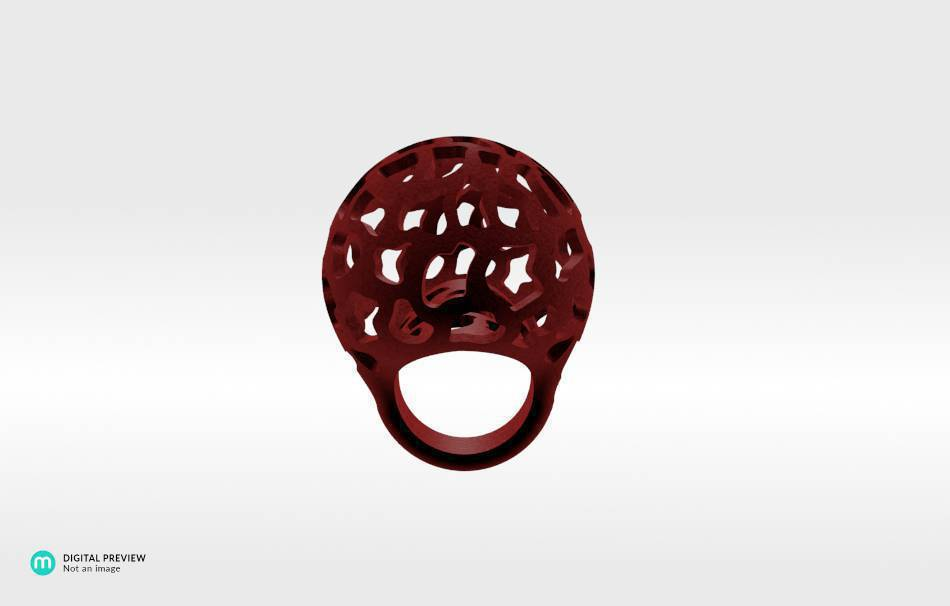 Plastic matte red                                                Jewelry Rings 3D printed
