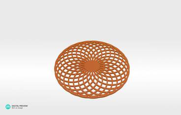 Circular lines coaster - Plastic shiny & sturdy orange