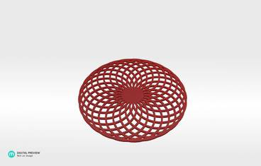 Circular lines coaster - Plastic shiny & sturdy red