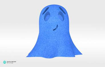 Cute ghost - Plastic matte blue