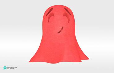 Cute ghost - Plastic matte red