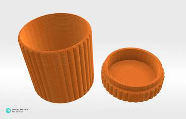 Cylinder box - Plastic shiny & sturdy orange