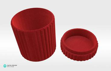 Cylinder box - Plastic shiny & sturdy red