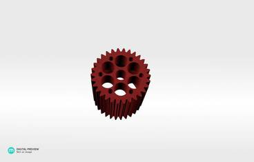 Gear pencil holder - Plastic matte red