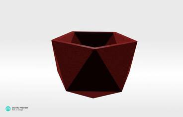 Geometrical planter - Plastic matte red