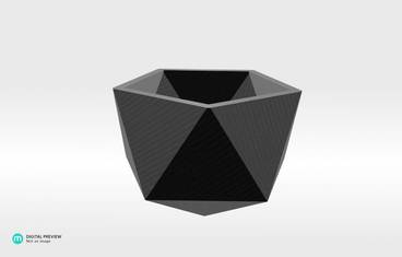 Geometrical planter - Plastic shiny & sturdy white