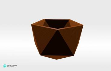 Geometrical planter - Plastic shiny & sturdy orange