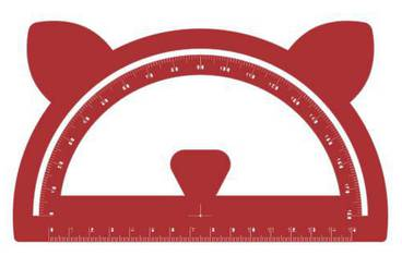 Goniometer with ears - Acrylic glass 3mm red