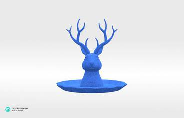"Jewelry holder ""Jackalope"" - Plastic matte blue"