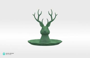 "Jewelry holder ""Jackalope"" - Plastic matte green"