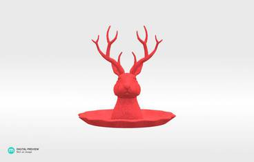 "Jewelry holder ""Jackalope"" - Plastic matte red"