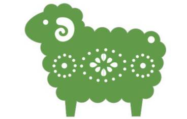 Keychain sheep - Acrylic glass 3mm green