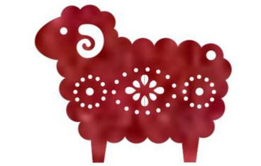 Keychain sheep - Felt red