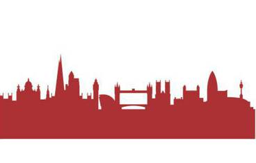 London skyline - Acrylic glass 3mm red