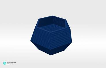 Lowpoly candle holder - Organic plastic blue