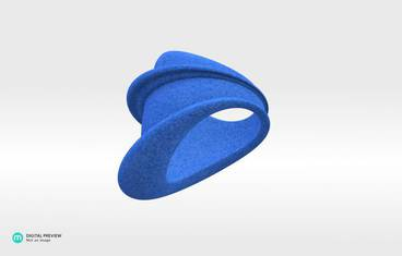 MyCity Tehran Ring - size Medium - Plastic matte blue