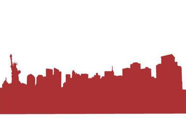 New York City skyline - Acrylic glass 3mm red