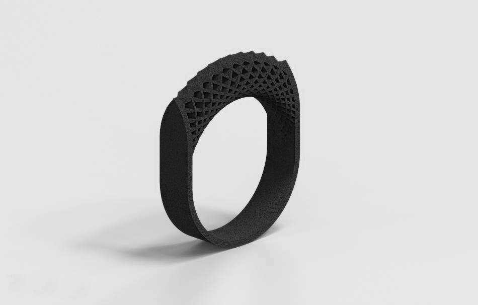 Plastic matte black                                                Jewelry Rings 3D printed