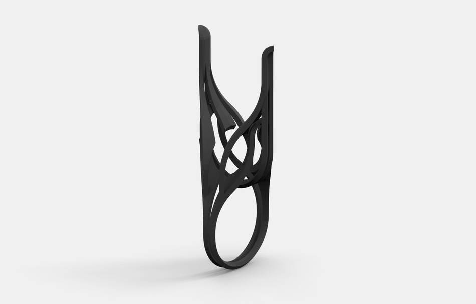 Plastic matte black                                                Top designs Jewelry competition | winning designs Jewelry Rings 3D printed