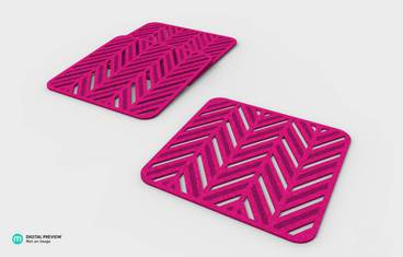 Pan coaster herringbone design