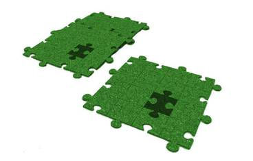 Pan coaster puzzle design - Felt green