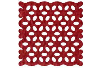 Pan coaster with lace pattern - Felt red