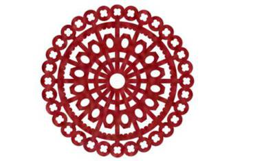 Pan coaster with ornaments - Felt red