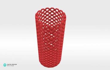 Perforated vase - Plastic matte red