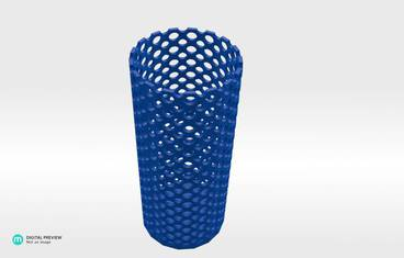 Perforated vase - Resin blue