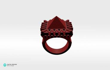 Pyramid Ring - Plastic matte red