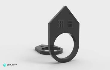Ring with a house