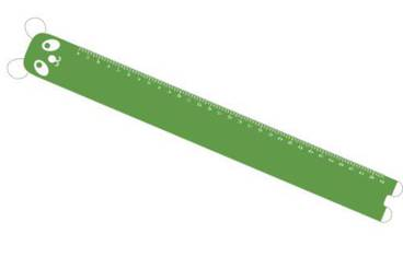 Ruler with panda face - Acrylic glass 3mm green