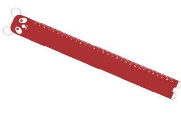 Ruler with panda face - Acrylic glass 3mm red