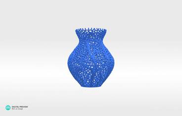 Secession decor vase - Plastic matte blue