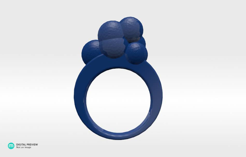 Resin blue                                                Jewelry Rings 3D printed
