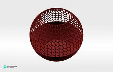 Spherical candle holder - Plastic matte red