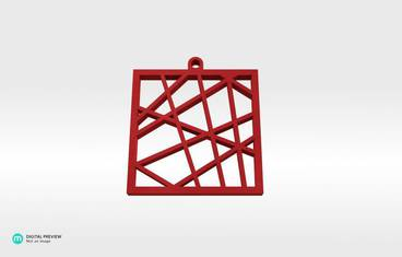 Square vector pendant - Plastic shiny & sturdy red