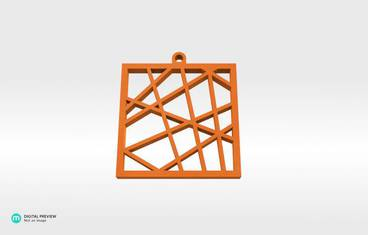 Square vector pendant - Organic plastic orange