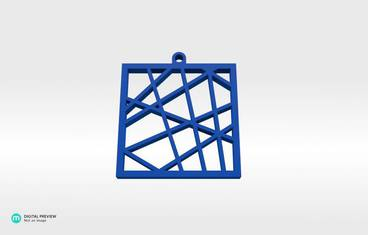 Square vector pendant - Resin blue