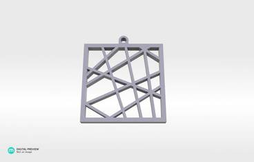 Square vector pendant - Resin white