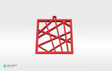 Square vector pendant - Plastic matte red