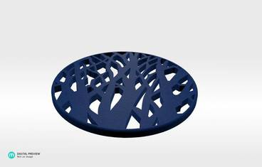 Tree cup coaster - Plastic matte blue